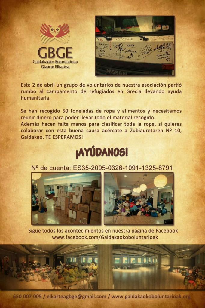GBGE ayuda solidaria refugiados